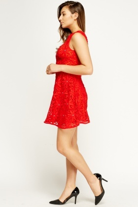 Mesh Overlay Embellished Skater Dress