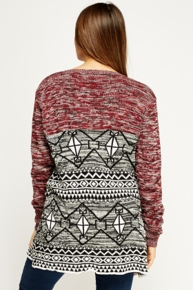 Mixed Print Knitted Cardigan