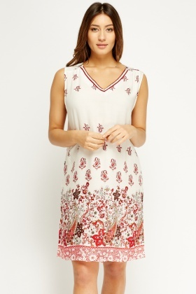 Off White Paisley Print Tunic Dress