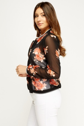 Sheer Floral Zip Top