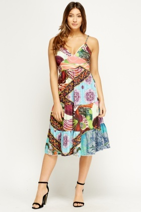 V-Neck Mixed Print Dress