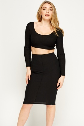 2 In 1 Ribbed Crop Top And Skirt