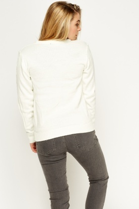 Cable Knit Off White Jumper