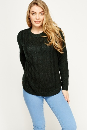 Cable Speckled Knit Jumper