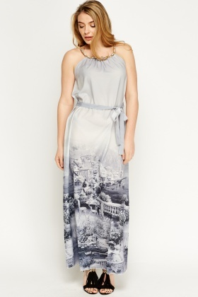 Chain Strap Printed Hem Maxi Dress
