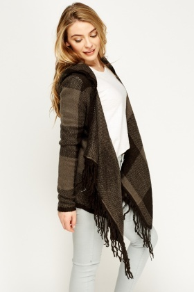Checked Hooded Wrap Poncho