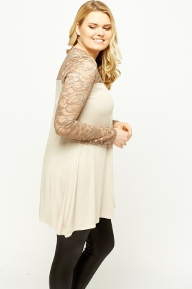 Lace Insert Metallic Swing Top