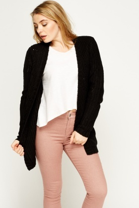 Loose Knit Black Cardigan