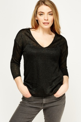 Metallic Insert Thin Pullover