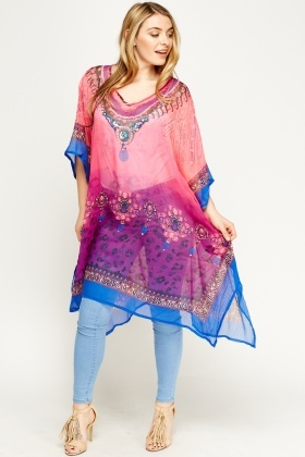 Mixed Print Embellished Asymmetric Cover Up