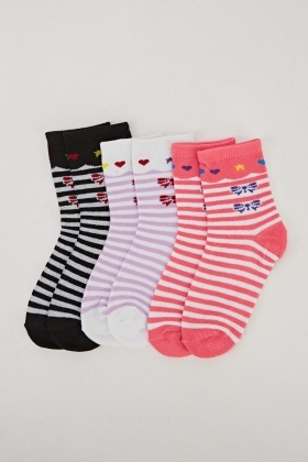 Pack Of 3 Printed Socks