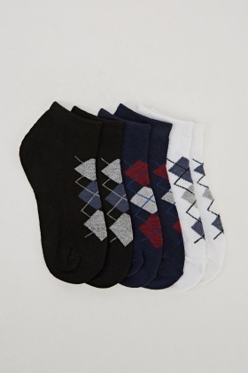 Pack Of 6 Diamond Print Ankle Socks