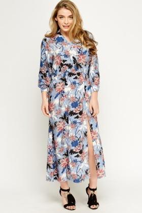 Palm Tree Print Maxi Dress