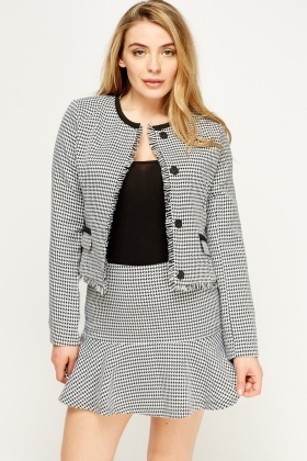 Printed Frayed Trim Blazer