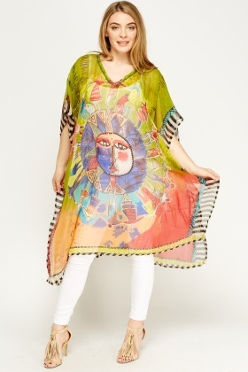 Sequin Printed Asymmetric Cover Up