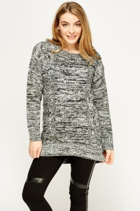 Speckled Knit Cable Jumper
