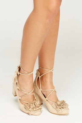 Fringed Court Tie Up Suedette Shoes