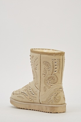 Studded Beige Boots