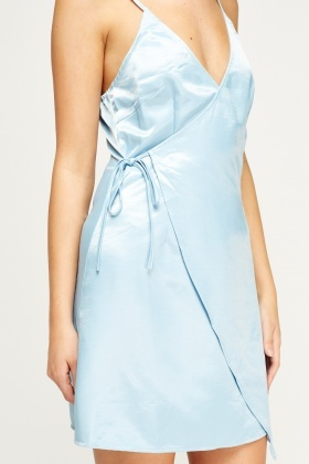 Blue Satin Wrap Mini Dress