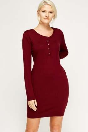 Button Neck Long Jumper Dress
