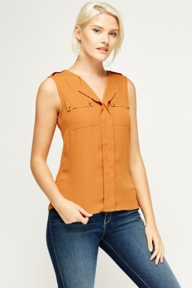 Camel Sleeveless Blouse