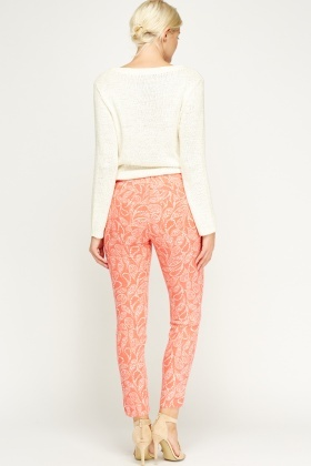 Coral Paisley Printed Trousers