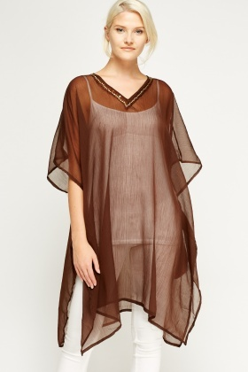 Embellished Neck Asymmetric Cover Up