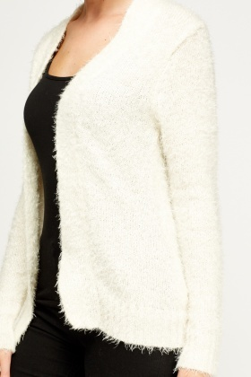Eyelash Knit Open Cardigan