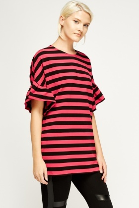 Flare Sleeve Stripe Top