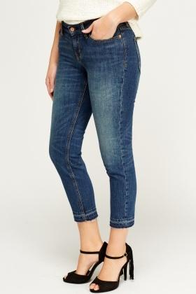 Frayed Hem Boyfriend Jeans - Denim Blue - Just £5