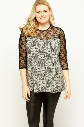 Lace Insert Word Print Top