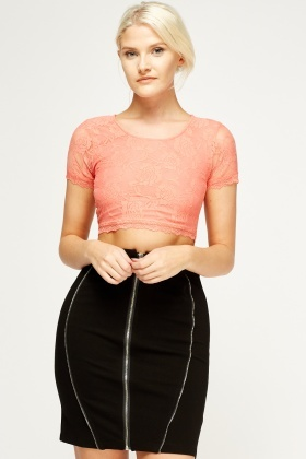 Laced Short Sleeve Crop Top