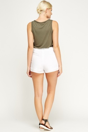 Laser Cut Front High Waist Shorts