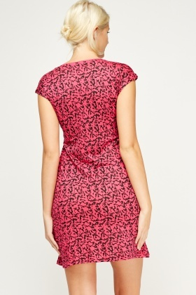 Mix Print Fuchsia Dress