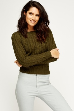 Cable Knit Cropped Pullover