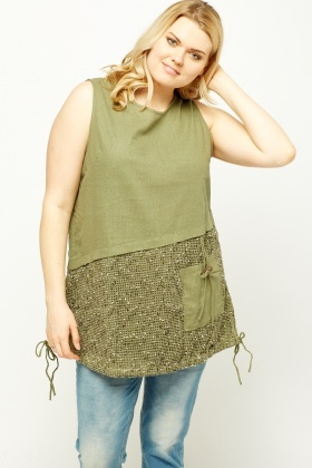 Contrast Hem Sleeveless Top
