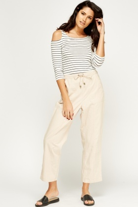Cotton Wide Leg Trousers
