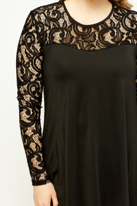 Lace Sleeve Swing Black Top