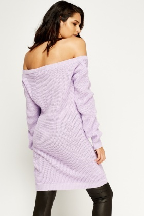 Lilac Knitted Off The Shoulder Jumper