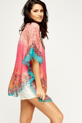 Printed Round Hem Cover Up