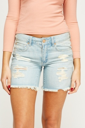 Ripped Distressed Denim Shorts