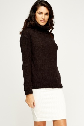 Roll Neck Black Knitted Jumper