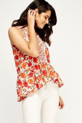 Rose Print Peplum Top