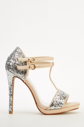 Glitter T-Bar Open Toe Heel