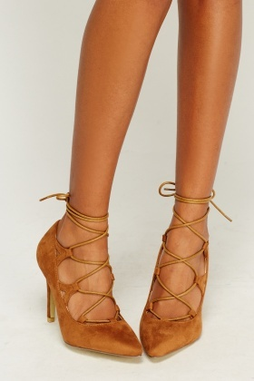 Suedette Tie Up Court Heels
