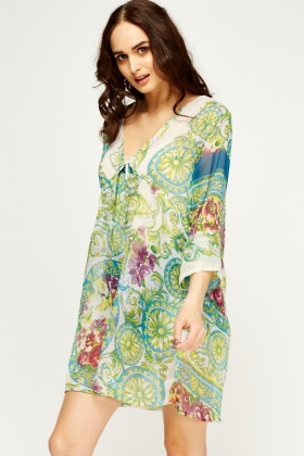 Embellished Printed Cover Up