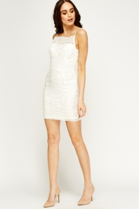 Mesh Overlay Mini Bodycon Dress
