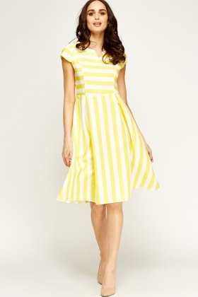 Multi Stripe Midi Skater Dress