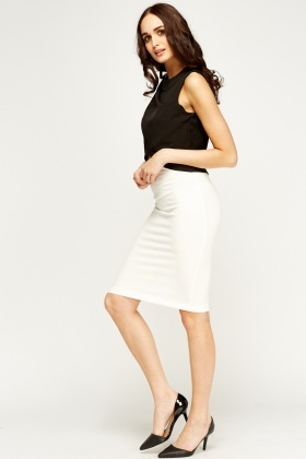 Off White Midi Pencil Skirt