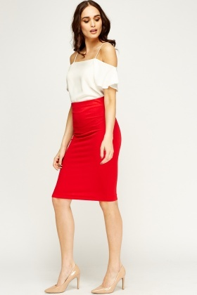 Red Midi Pencil Skirt